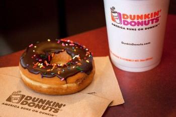 Dunkin' Donuts coffee and chocolate donut