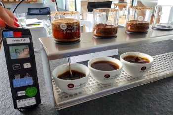 Cuptasting with thermometer on the right
