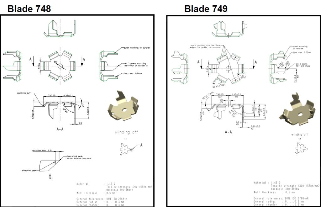 Nespress blades 748 vs new 749